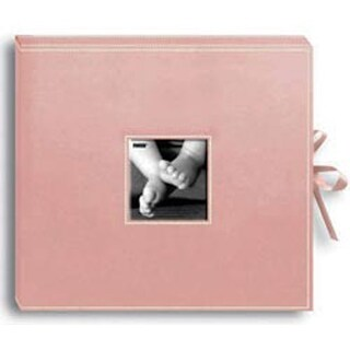 """Baby Pink - Sewn Leatherette D-Ring Scrapbook Box 13""""X14.5"""""""