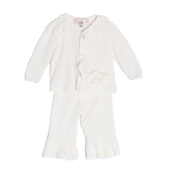 Isobella & Chloe Baby Girls White Long Sleeve Flower Ruffle 2 Pc Outfit
