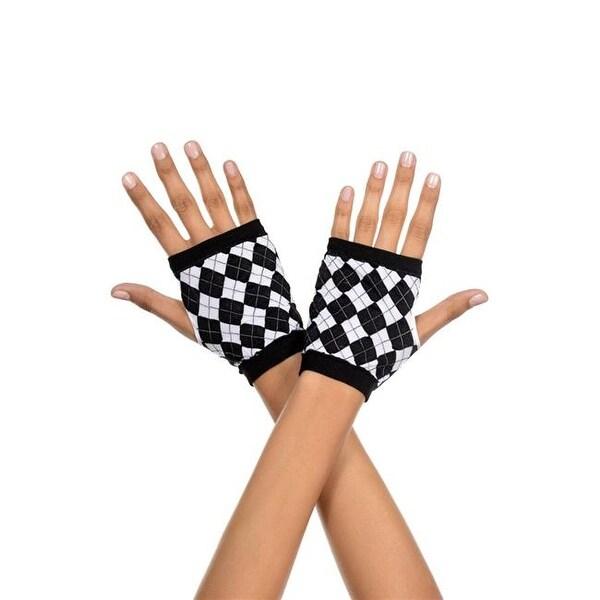c9160b1e048 Shop Music Legs 437-BLACK-WHITE Harlequin Design Gloves