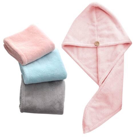 Women Water Absorbent Quick Dry Turban Wrap Hair Hat Bathing Shower Towel Cap