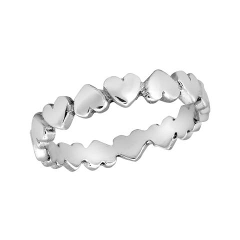 Handmade Love Inspired Upside-Down Linked Hearts Sterling Silver Band Ring (Thailand)