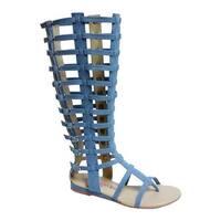 Penny Loves Kenny Women's Copa Gladiator Sandal Boot Blue Denim Fabric