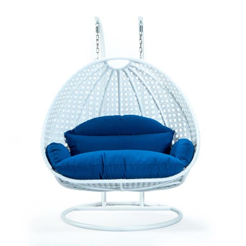 LeisureMod White Wicker 2 person Double Hanging Egg Swing Chair