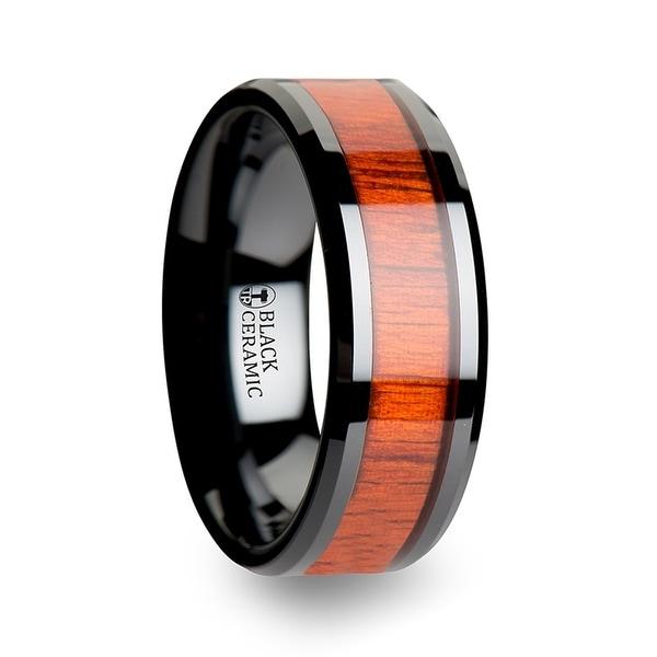 BOSULU Black Ceramic Ring with Polished Bevels and Padauk Real Wood Inlay 8mm