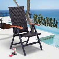 Costway Patio Folding Back Adjustable Aluminum Rattan Chair Lounger Recliner Garden
