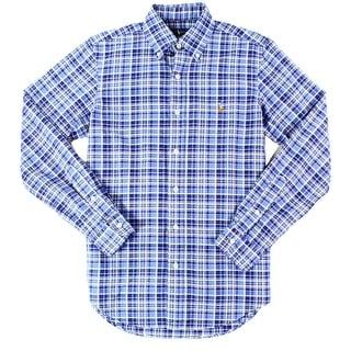 Ralph Lauren NEW Royal Blue Mens Size Small S Button Down Plaid Shirt