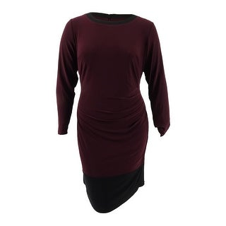 Lauren by Ralph Lauren Women's Plus Size Colorblock Sheath Dress - Red