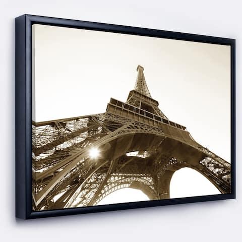 Designart 'Paris Eiffel TowerStraight Into Sky' Photography Framed Canvas Art Print