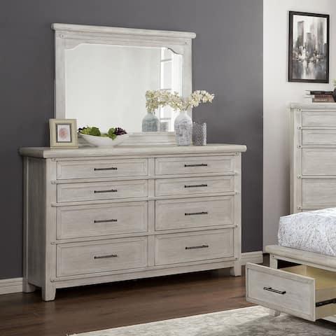 Furniture of America Tiwo Transitional White Dresser and Mirror Set
