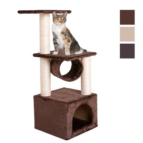"""36"""" Solid Cute Sisal Rope Plush Cat Climb Tree Cat Tower"""