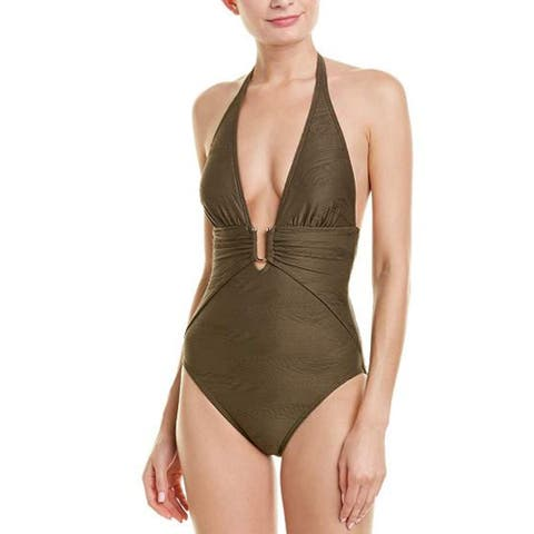 Vince Camuto Pacific Wave Plunging Texture One-Piece, Bonsai, 10