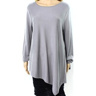 Alfani NEW Gray Asymmetrical Drape Womens Size Large L Sweater Knit Top