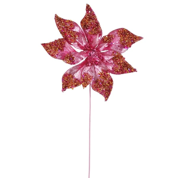 "24"" Pink Glitter Beaded Poinsettia Flower Artificial Christmas Spray Pick"