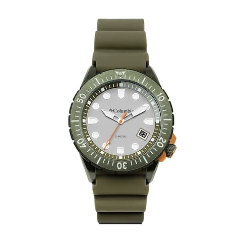 Columbia Pacific Outlander Gray 3-Hand Date Olive Silicone Watch