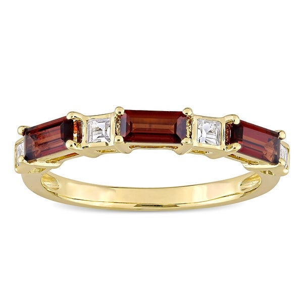 Miadora 10k Yellow Gold Baguette & Square-cut Garnet & White Topaz Stackable Eternity Wedding Band. Opens flyout.