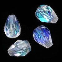 Czech Fire Polished Glass Beads 8 x 6mm Teardrop Crystal AB (20)
