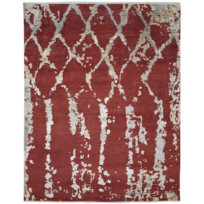 """One of a Kind Hand-Knotted Modern & Contemporary 8' x 10' Trellis Wool Red Rug - 7'10""""x10'1"""""""