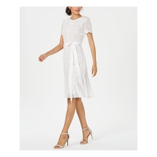 R&M RICHARDS White Short Sleeve Knee Length Shift Dress  Size 6