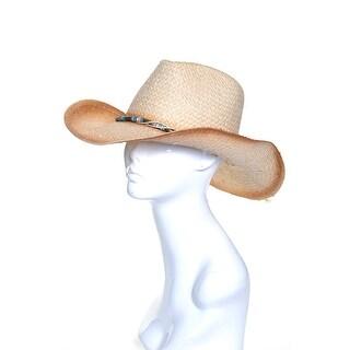 Womens Ombre Straw Fedora Hat Beaded Tie