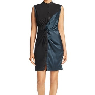 DKNY NEW Teal Green Black Colorblocked Women's 12 Knotted Sheath Dress