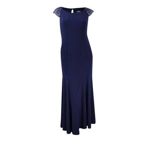 S.L. Fashions Women's Beaded-Sleeves Jersey Gown - Navy