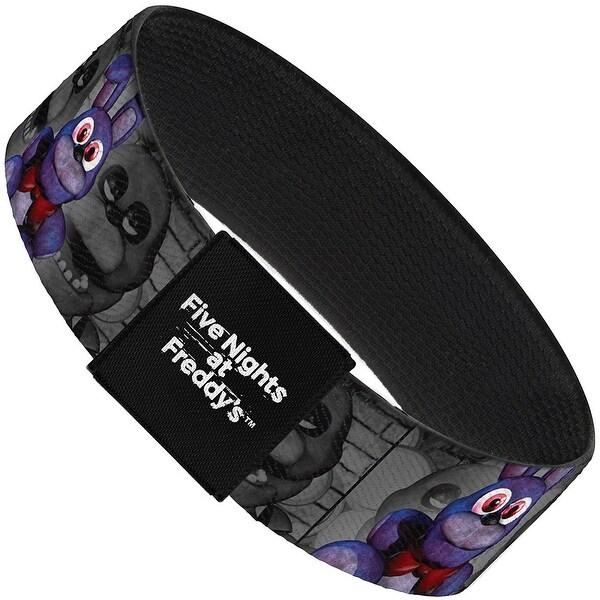 """Bonnie Plushie Face Grays Elastic Bracelet 1.0"""" Wide"""