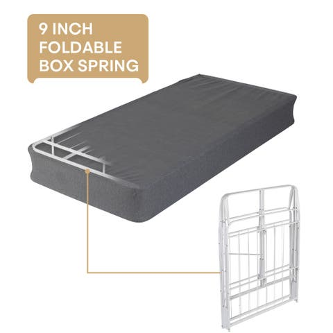 Foldable 9inch Mattress Foundation Smart Twin/Twin XL Box Spring Bed Frame Zero Assembly Sturdy Metal Bed Structure