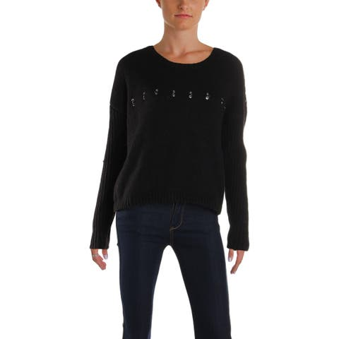 Guess Womens Pullover Sweater Knit Grommet - XL