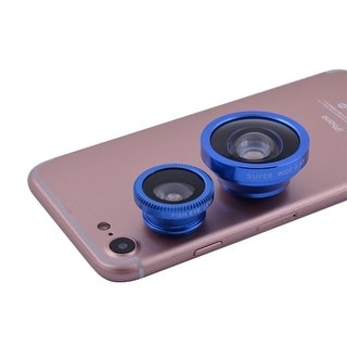 3 in 1 Phone PC Fish Eye Super Wide Angle Macro Clip on Camera Lens Kit Blue