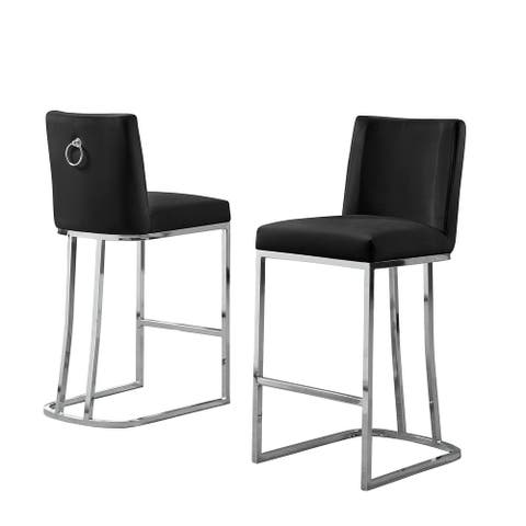 Best Quality Furniture Counter Height Chair with Chrome Base (Set of 2)