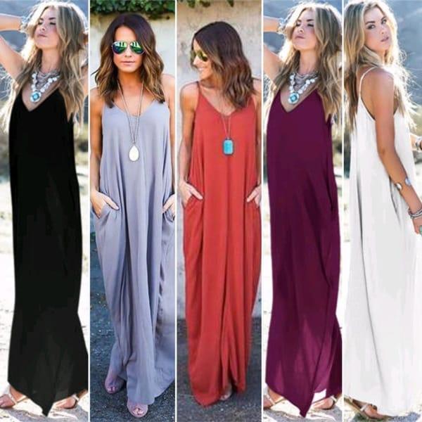 e729ca3b33bc66 Women Fashion Hot Loose Long Harness Dress Pockets Evening Party Maxi Dress
