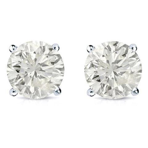 Auriya 14k Gold 2ctw Diamond Stud Earrings Clarity-enhanced