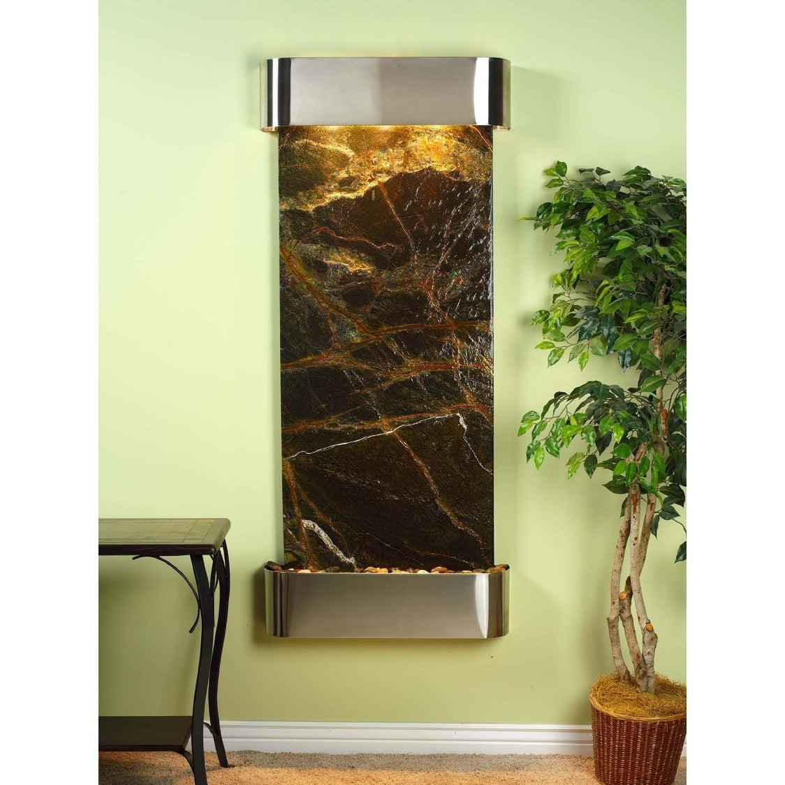 Adagio Inspiration Falls Fountain w/ Green Rainforest Marble in Stainless Steel - Thumbnail 0