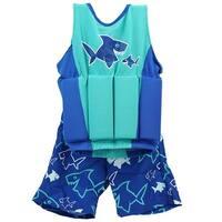 Blue and Teal Shark Float Shorty Swim Vest Set - M/L - Ages 3-4 - Green