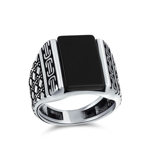 Mens Bali Etched Gemstone Statement Rectangle Signet Ring Silver