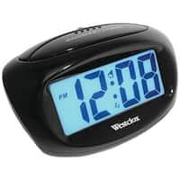 "Westclox 70043X Large Easy-to-Read 1"" LCD Display Alarm Clock, Black Case"
