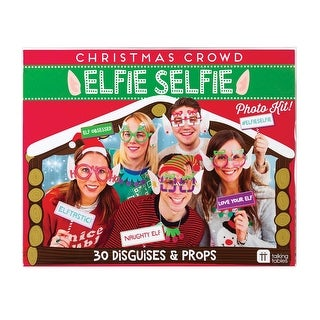 Talking Tables Elfie Selfie Photo Kit - 30 Photo Booth Christmas Themed Disguises & Props - multi