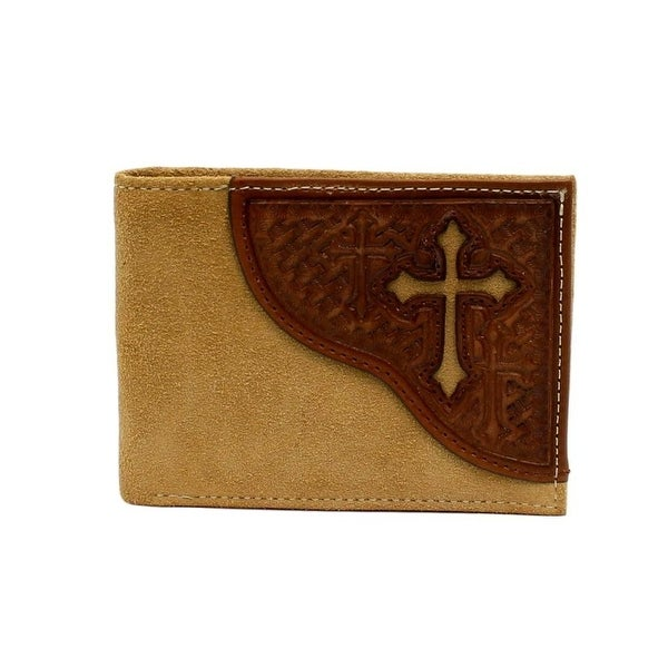 Nocona Western Wallet Mens Cross Leather Bi-fold Medium Brown