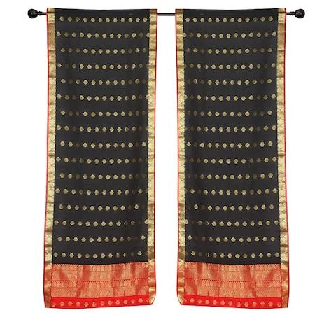 2 Black Bohemian Indian Sari Curtains Rod Pocket Living Room Window Treatment