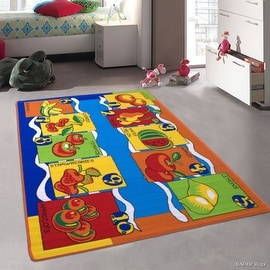 "Allstar Kids / Baby Room Area Rug. Fruits and Vegetables. Bright Colorful Vibrant Colors (3' 3"" x 4' 10"")"