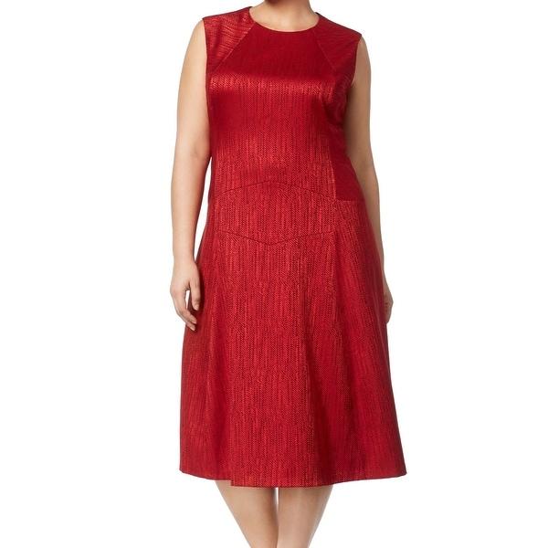 Anne Klein Women Plus Jacquard Fit Flare Sheath Dress