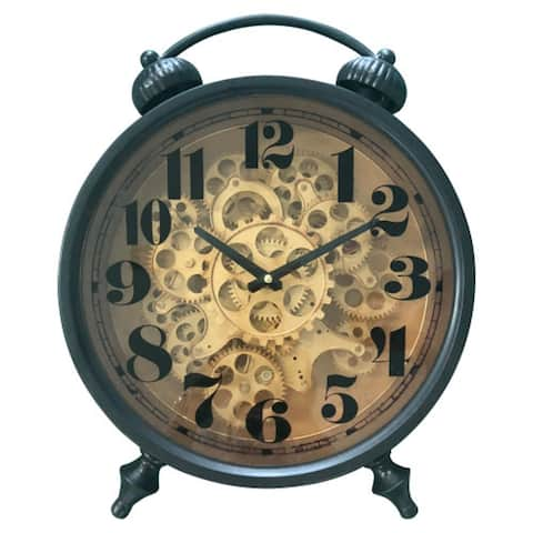 Yosemite Home Decor Gears III Brass Metal Table Clock - 18.5 x 15.3 x 6.6