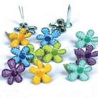 Mini Flowers - Bright - Eyelet Outlet Shape Brads 12/Pkg