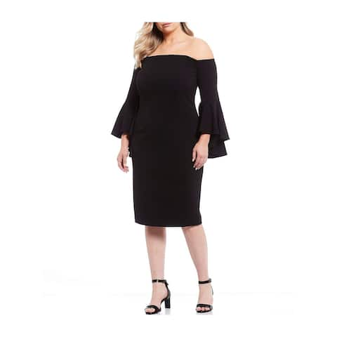 CALVIN KLEIN Black Bell Sleeve Above The Knee Dress 24W