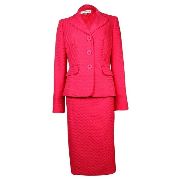 Evan Picone Women's Classic Time Weave Pattern Skirt Suit - Geranium