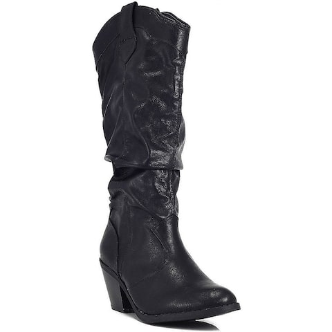 Qupid Muse-01 Western Cowboy Inspired Slouchy Mid Calf Knee High Stacked Heel...