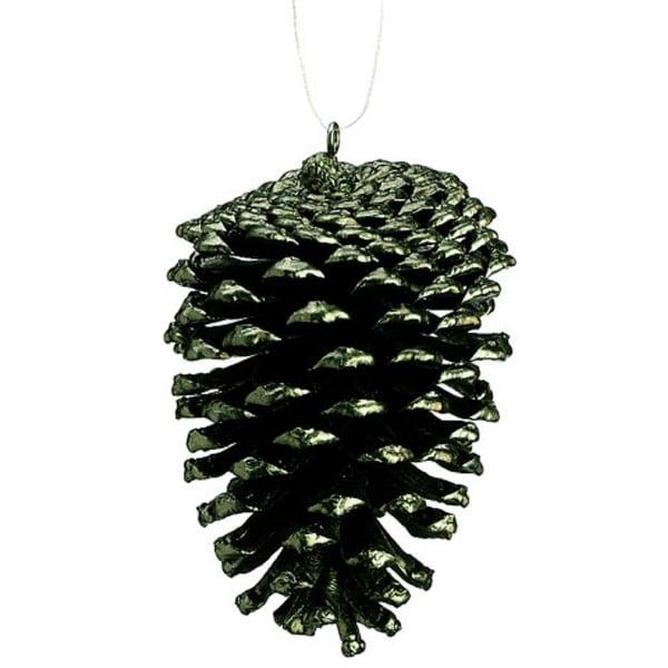 "4"" Rustic Lodge Dark Green Pine Cone Christmas Ornament"