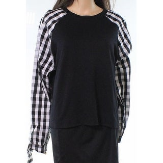 Caslon Black White Womens Size Large L Plaid Sleeve Pullover Sweater