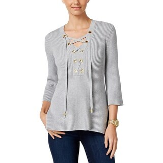 MICHAEL Michael Kors Womens Pullover Sweater Ribbed Knit Lace Up