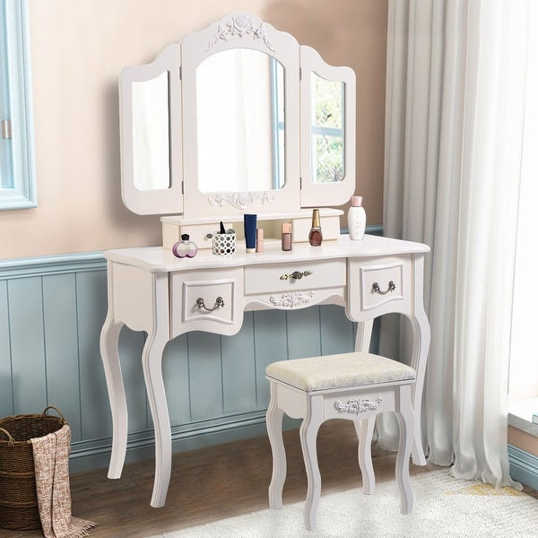 Costway Tri Folding Vintage White Vanity Makeup Dressing Table Set Bathroom 5 Drawers Stool